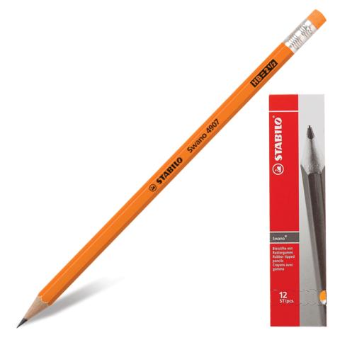 "Карандаш ч/гр STABILO, 1 шт., ""Swano"", HB, корпус неон.оранжевый, с ластиком, заточ., 4907/030HB  Код: 181101"