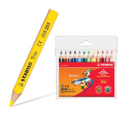 """Карандаши цветные утолщенные укороченные STABILO """"Trio"""", 12 цветов,гриф. 4,2 мм, трехгр.,заточ., 205/12  Код: 181104"""