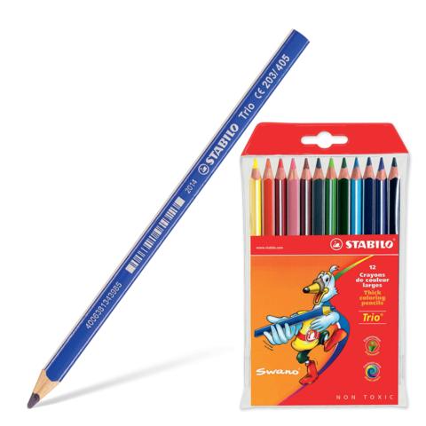 """Карандаши цветные утолщенные STABILO """"Trio"""", 12 цветов, грифель 4,2 мм, трехгранные, заточенные, 203/12  Код: 181105"""