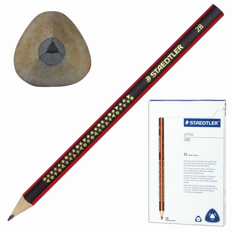 Карандаш ч/гр утолщенный STAEDTLER (Германия), 1 шт., 2B, грифель 3 мм, трехгранный, 1285-1  Код: 181173