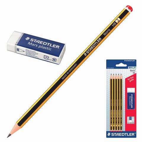 Набор STAEDTLER (Германия), карандаши ч/гр 5 шт.(НВ), резинка стирательная, 120 ASBKD  Код: 181192
