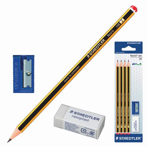 Набор STAEDTLER (Германия), карандаши ч/гр 4 шт.(НВ), резинка стирательная, точилка, 120S1BK4D  Код: 181193