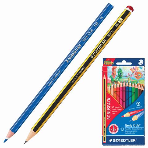 """Карандаши цветные STAEDTLER (Германия) """"Noris Club"""", 12 цв +1 ч/графитный, заточенные, 144 SET1  Код: 181229"""