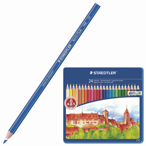 """Карандаши цветные STAEDTLER (Германия) """"Noris Club"""", 24 цв, заточенные, металлический пенал,145 CM24  Код: 181232"""