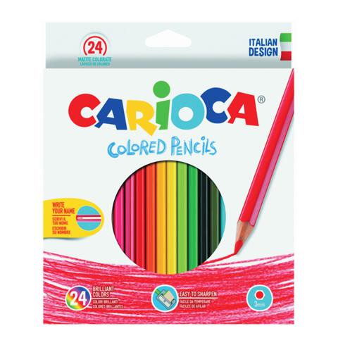Карандаши цветные CARIOCA (Италия), 24 цв, грифель 3 мм, шестигранные, заточенные, европодвес, 40381  Код: 181269
