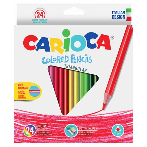 """Карандаши цветные CARIOCA """"Triangular"""", 24 цв, трехгранные, грифель 3,5 мм, европодвес, 42516  Код: 181272"""