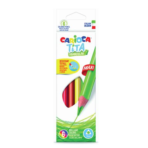 """Карандаши цветные утолщенные CARIOCA """"Tita Maxi"""",  6 цв, пластиковые, трехгранные, 5 мм, 42790  Код: 181273"""