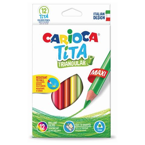 """Карандаши цветные утолщенные CARIOCA """"Tita Maxi"""", 12 цв, пластиковые, трехгранные, 5 мм, 42791  Код: 181274"""