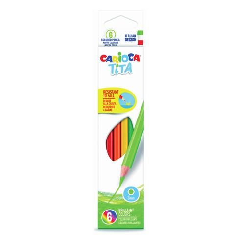 """Карандаши цветные CARIOCA """"Tita"""",  6 цв, пластиковые, грифель 3 мм, шестигранные, европодвес, 42792  Код: 181275"""