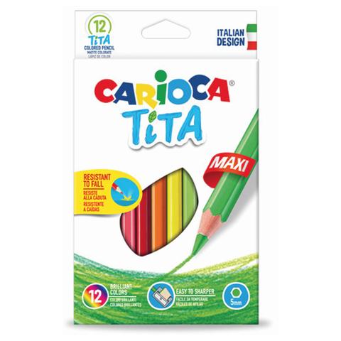 """Карандаши цветные утолщенные CARIOCA """"Tita Maxi"""", 12 цв, пластиковые, шестигранные, 5 мм, 42789  Код: 181278"""