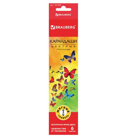 """Карандаши цветные BRAUBERG (Брауберг) """"Бабочки"""", НАБОР 6 цветов, трехгранные, корпус с полосками, 181284  Код: 181284"""