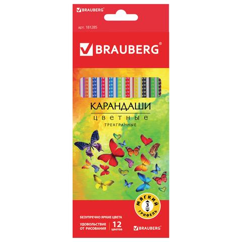 """Карандаши цветные BRAUBERG (Брауберг) """"Бабочки"""", НАБОР 12 цветов, трехгранные, корпус с полосками, 181285  Код: 181285"""