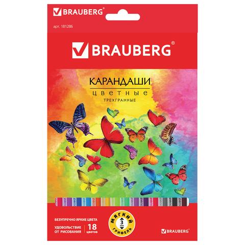"""Карандаши цветные BRAUBERG (Брауберг) """"Бабочки"""", НАБОР 18 цветов, трехгранные, корпус с полосками, 181286  Код: 181286"""