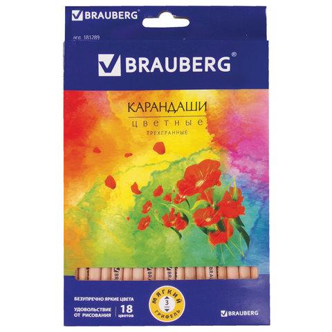"""Карандаши цветные BRAUBERG (Брауберг) """"Цветы"""", НАБОР 18 цветов, трехгранные, лакированное дерево, 181289  Код: 181289"""