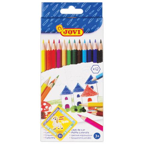 Карандаши цветные JOVI (Испания) 12 цв, шестигранные, заточенные, картонная упаковка, 730/12  Код: 181331