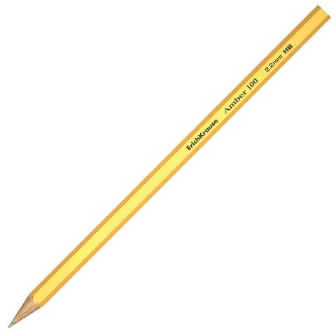 """Карандаш ч/гр ERICH KRAUSE, 1 шт., """"Amber 100"""", HB, грифель 2,2мм, без резинки, корпус желтый, 45476  Код: 181408"""