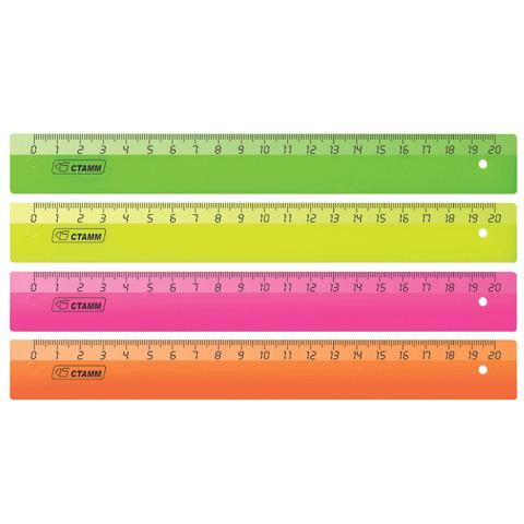 "Линейка пластик 20 см СТАММ ""Neon"", прозрачная, неон. ассорти, ЛН11  Код: 210139"