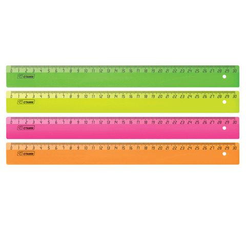 "Линейка пластик 30 см СТАММ ""Neon Cristal"", неон. ассорти, ЛН31  Код: 210141"