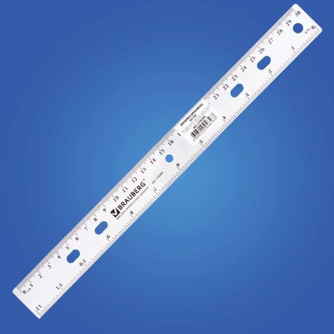 "Линейка пластик 30 см BRAUBERG (Брауберг) ""Сrystal"", прозрачная, 210284  Код: 210284"