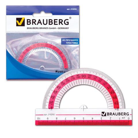 """Транспортир 10 см, 180 градусов, пластик, BRAUBERG (Брауберг) """"Сrystal"""", прозрачный с выдел.шкалой, подвес,210292  Код: 210292"""