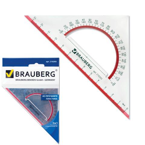 """Треугольник пластик 45*13 см, BRAUBERG (Брауберг) """"Сrystal"""", с транспортиром, прозрачный с выдел. шкалой, 210293  Код: 210293"""
