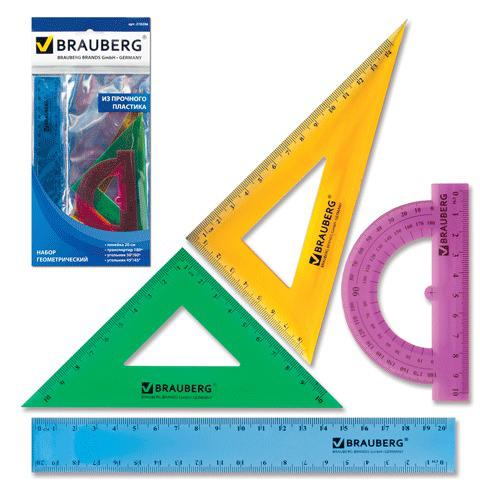 """Набор чертежный средний BRAUBERG (Брауберг) """"Сrystal"""" (линейка 20 см, 2 угольника,транспортир), цветной, 210296  Код: 210296"""