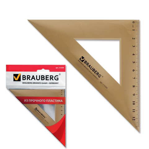 Треугольник пластик 45*16,5 см, BRAUBERG, тонированный, прозрачный, европодвес, 210304  Код: 210304