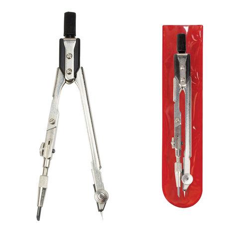Циркуль для старших классов и студентов, 125 мм, стальной, никелированный, чехол ПВХ, ЦЧ-60-10  Код: 210411