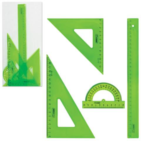 Набор чертежный СТАММ большой (линейка 30 см,треугольник 2 шт,транспортир),ассорти,тонированный,НГ16  Код: 210438