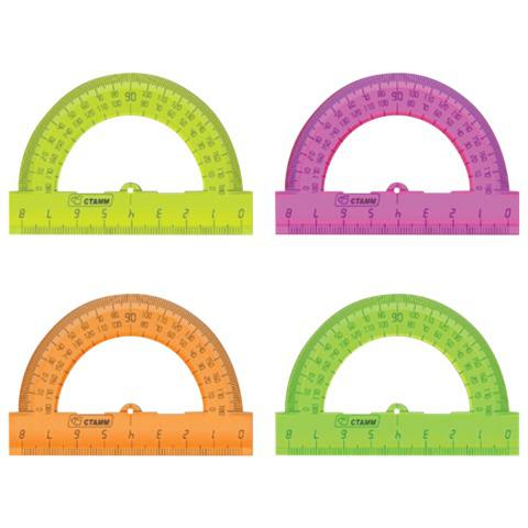 Транспортир  8 см, 180 градусов, пластик,СТАММ, тонированный, ассорти, 4 цвета, ТР01  Код: 210439