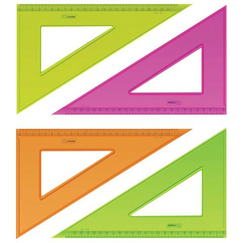 """Треугольник пластик 30*23 см, СТАММ """"Neon Cristal"""", тонированный, прозрачный, неон. ассорти, ТК54  Код: 210446"""
