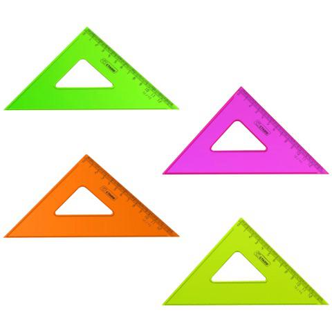 """Треугольник пластик 45*12 см, СТАММ """"Neon Cristal"""", тонированный, прозрачный, неон. ассорти, ТК44  Код: 210447"""