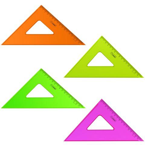 """Треугольник пластик 45*16 см, СТАММ """"Neon Cristal"""", тонированный, прозрачный, неон. ассорти, ТК57  Код: 210448"""
