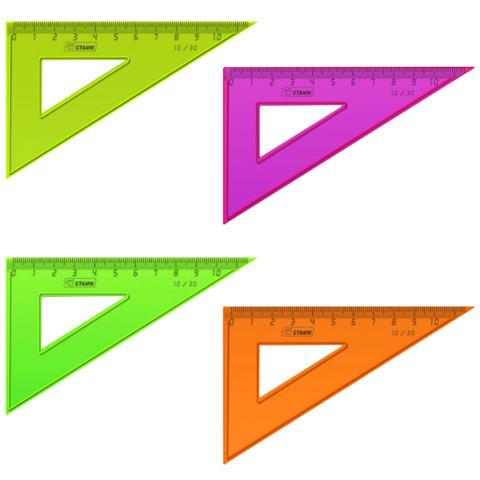 """Треугольник пластик 30*10 см, СТАММ """"Neon"""", тонированный, непрозрачный, неон. ассорти, ТК23  Код: 210449"""