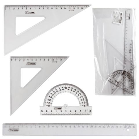 Набор чертежный большой СТАММ (линейка 30 см, 2 угольника,транспортир),прозрачный, НГ15  Код: 210450