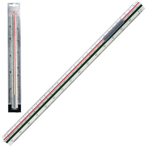 Линейка масштабная 30 см, 6 шкал, пластик, KOH-I-NOOR, 1:20/25/50/100/200/500, трехгр., 071500400000  Код: 210467