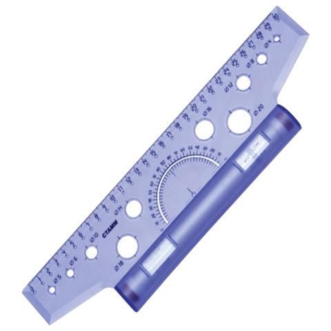 Линейка с роликом (рейсшина) 30 см, СТАММ пластиковый ролик, с транспортиром, прозрачная, ЛР20  Код: 210483