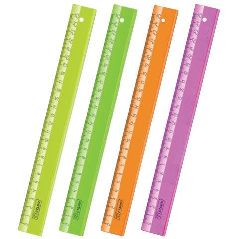 "Линейка пластик 25 см СТАММ ""Neon Crystal"", прозрачная, неон. ассорти, ЛН22  Код: 210487"