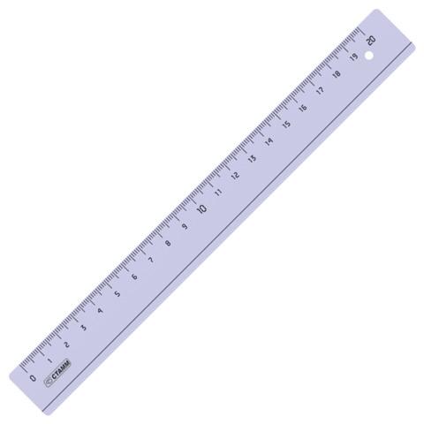 Линейка пластик 20 см СТАММ, прозрачная, тонированная, ЛН14  Код: 210504