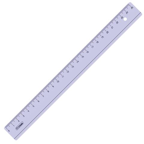 Линейка пластик 25 см СТАММ, прозрачная, тонированная, ЛН24  Код: 210506