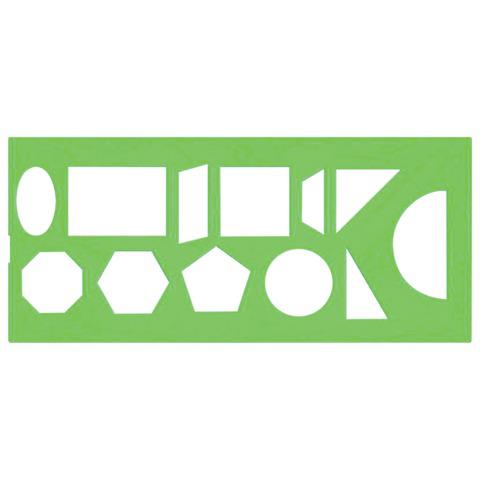 Трафарет СТАММ геометрических фигур, 12 элементов, зеленый, ТТ11  Код: 210521