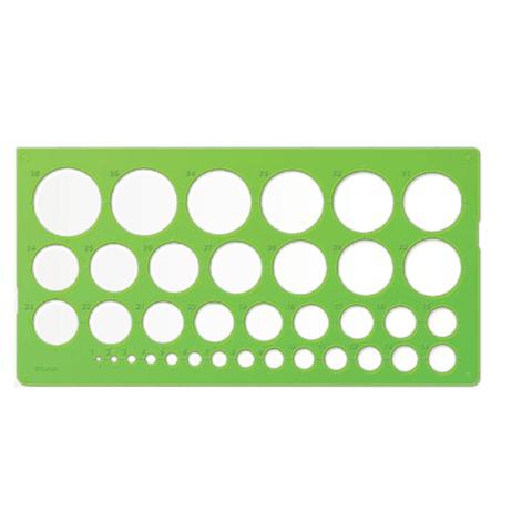 Трафарет СТАММ окружностей, 36 элементов диаметром от 1 до 36 мм, зеленого цвета, ТТ21  Код: 210522