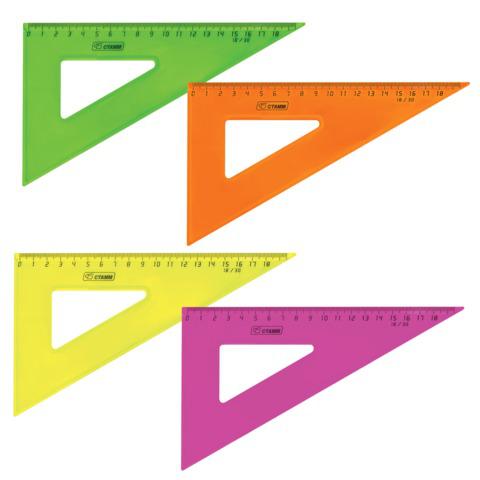 """Треугольник пластик 30*18 см, СТАММ """"Neon Cristal"""", тонированный, прозрачный, неон. ассорти, ТК47  Код: 210524"""