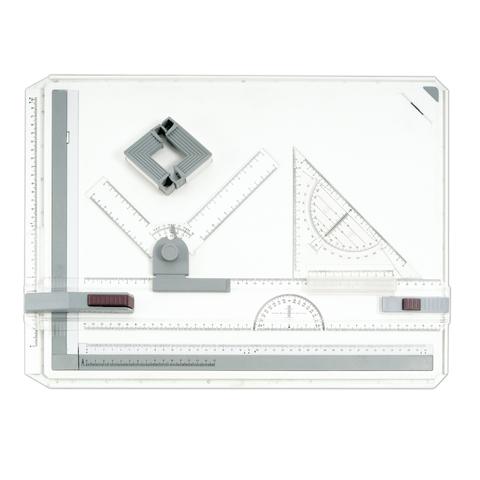 Доска чертежная А3, 505х370мм, с рейсшиной, треугольником и чертежным узлом, BRAUBERG, 210536  Код: 210536