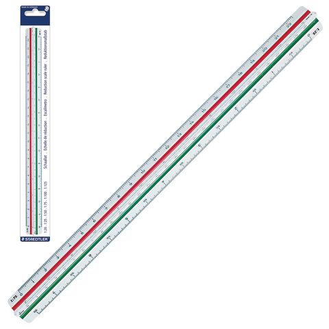Линейка масштабная 30 см, 6 шкал, пластик, STAEDTLER, 1:20/25/50/75/100/125, трехгранная, 561 98-1BK  Код: 210549