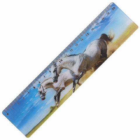 Линейка 3D 20 см BRAUBERG, ОБЪЕМНАЯ, Белые кони, европодвес, 210569  Код: 210569