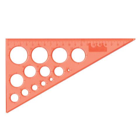 Треугольник пластик 30*19 см BRAUBERG, с окружностями, прозрачный, неоновый, ассорти, 210619  Код: 210619