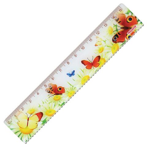 """Линейка пластик 15 см ПИФАГОР """"Бабочки"""", цветная печать, с волнистым краем, европодвес, 210635  Код: 210635"""