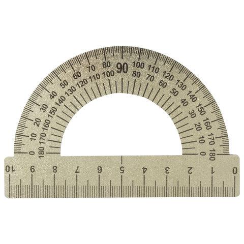 Транспортир 10 см, 180 градусов, металлический, ПИФАГОР, 210637  Код: 210637