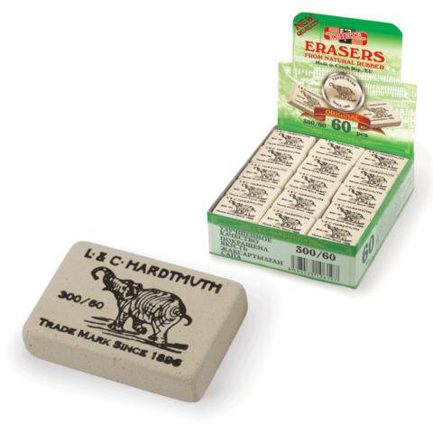 """Резинка стирательная KOH-I-NOOR """"Слон"""", прямоугольная, 31х21х8мм, белая, картонный дисплей, 300/60  Код: 220404"""